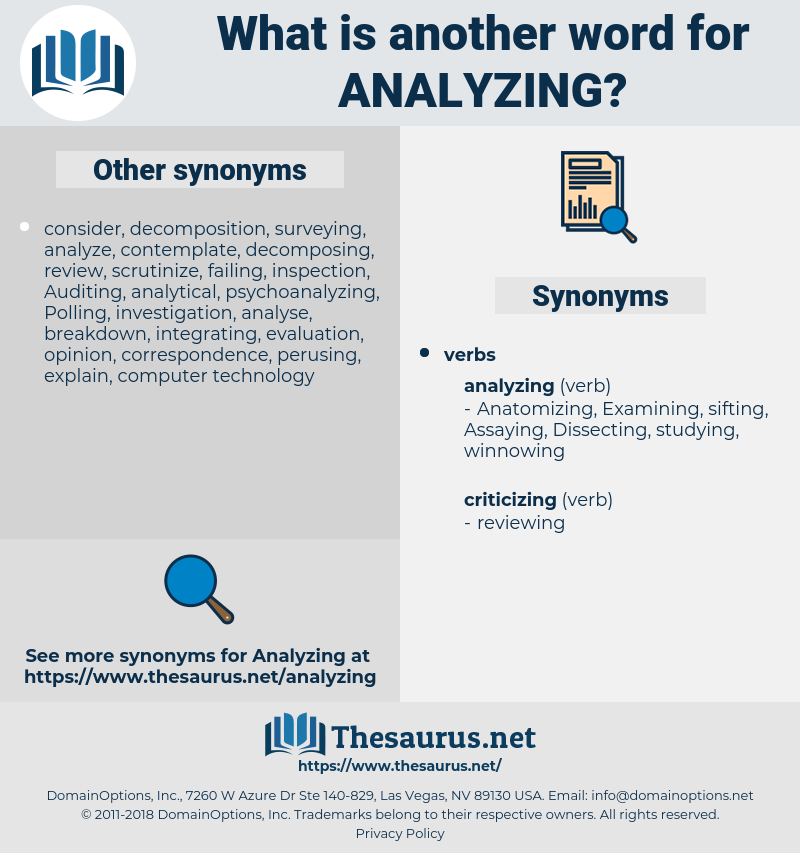 Analyzing, synonym Analyzing, another word for Analyzing, words like Analyzing, thesaurus Analyzing