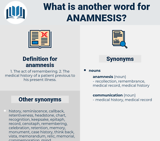 anamnesis, synonym anamnesis, another word for anamnesis, words like anamnesis, thesaurus anamnesis