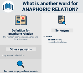 anaphoric relation, synonym anaphoric relation, another word for anaphoric relation, words like anaphoric relation, thesaurus anaphoric relation