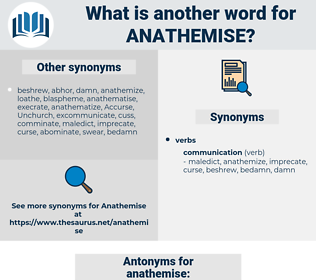 anathemise, synonym anathemise, another word for anathemise, words like anathemise, thesaurus anathemise