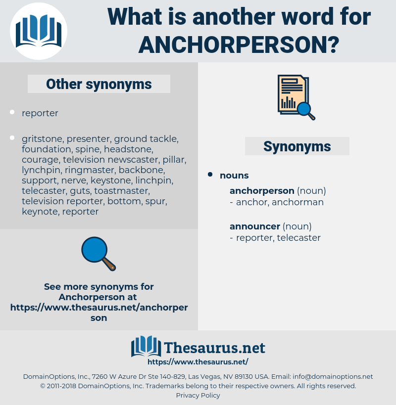 anchorperson, synonym anchorperson, another word for anchorperson, words like anchorperson, thesaurus anchorperson