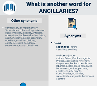 ancillaries, synonym ancillaries, another word for ancillaries, words like ancillaries, thesaurus ancillaries