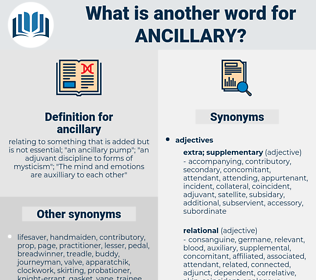 ancillary, synonym ancillary, another word for ancillary, words like ancillary, thesaurus ancillary