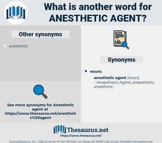 anesthetic agent, synonym anesthetic agent, another word for anesthetic agent, words like anesthetic agent, thesaurus anesthetic agent