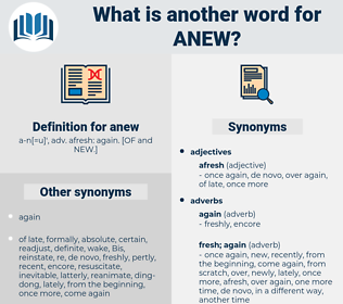anew, synonym anew, another word for anew, words like anew, thesaurus anew