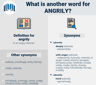 angrily, synonym angrily, another word for angrily, words like angrily, thesaurus angrily