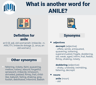 anile, synonym anile, another word for anile, words like anile, thesaurus anile