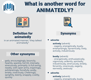 animatedly, synonym animatedly, another word for animatedly, words like animatedly, thesaurus animatedly