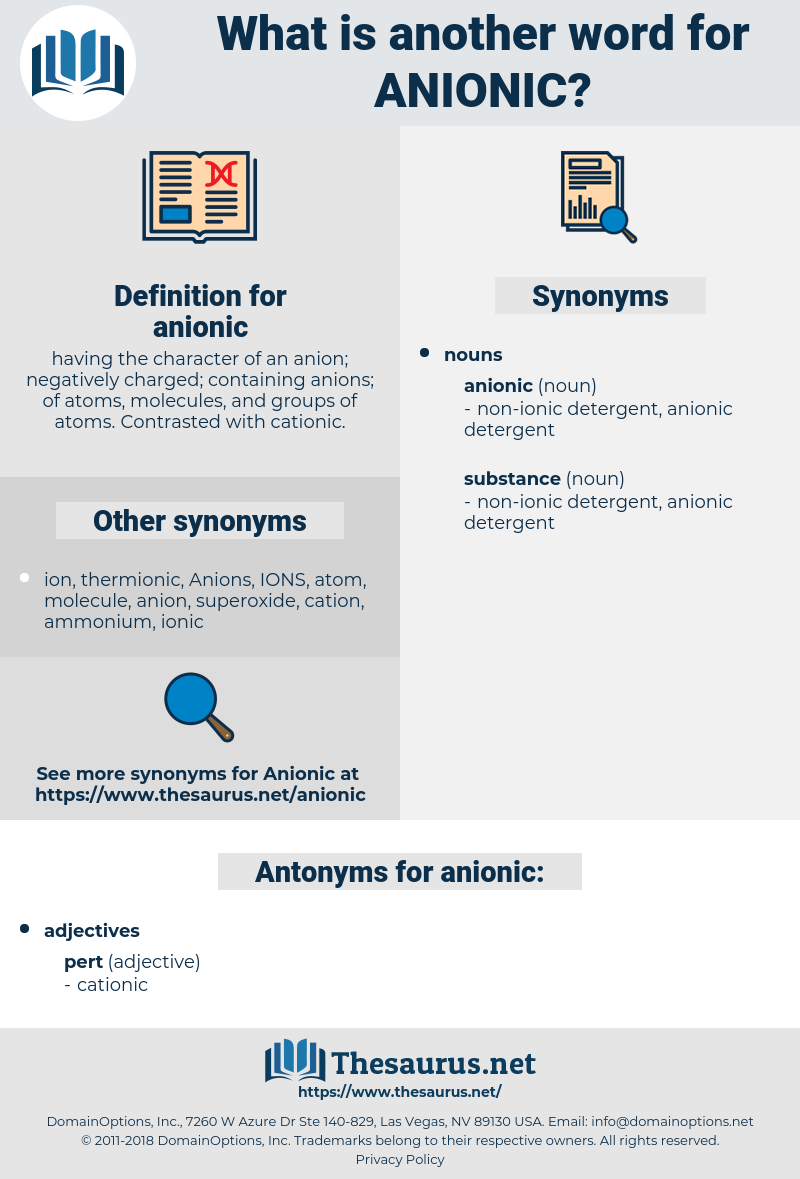 anionic, synonym anionic, another word for anionic, words like anionic, thesaurus anionic