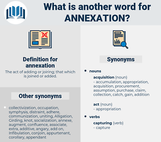 annexation, synonym annexation, another word for annexation, words like annexation, thesaurus annexation
