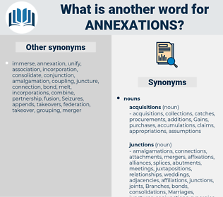 annexations, synonym annexations, another word for annexations, words like annexations, thesaurus annexations