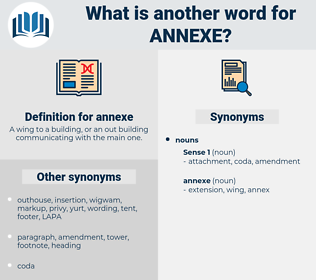 annexe, synonym annexe, another word for annexe, words like annexe, thesaurus annexe