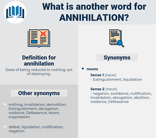 annihilation, synonym annihilation, another word for annihilation, words like annihilation, thesaurus annihilation