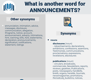 announcements, synonym announcements, another word for announcements, words like announcements, thesaurus announcements