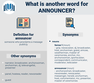 announcer, synonym announcer, another word for announcer, words like announcer, thesaurus announcer