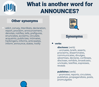announces, synonym announces, another word for announces, words like announces, thesaurus announces
