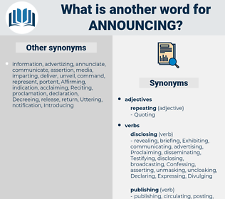 Announcing, synonym Announcing, another word for Announcing, words like Announcing, thesaurus Announcing