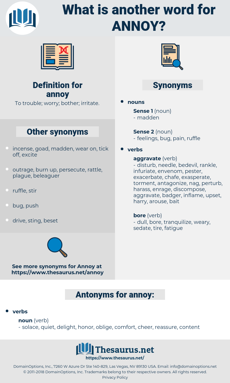 annoy, synonym annoy, another word for annoy, words like annoy, thesaurus annoy