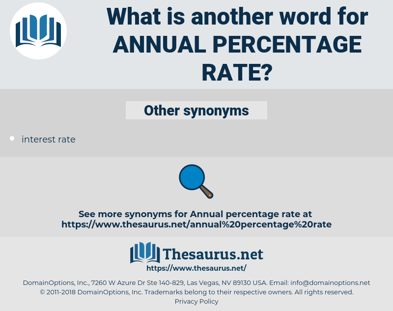annual percentage rate, synonym annual percentage rate, another word for annual percentage rate, words like annual percentage rate, thesaurus annual percentage rate