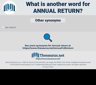 annual return, synonym annual return, another word for annual return, words like annual return, thesaurus annual return