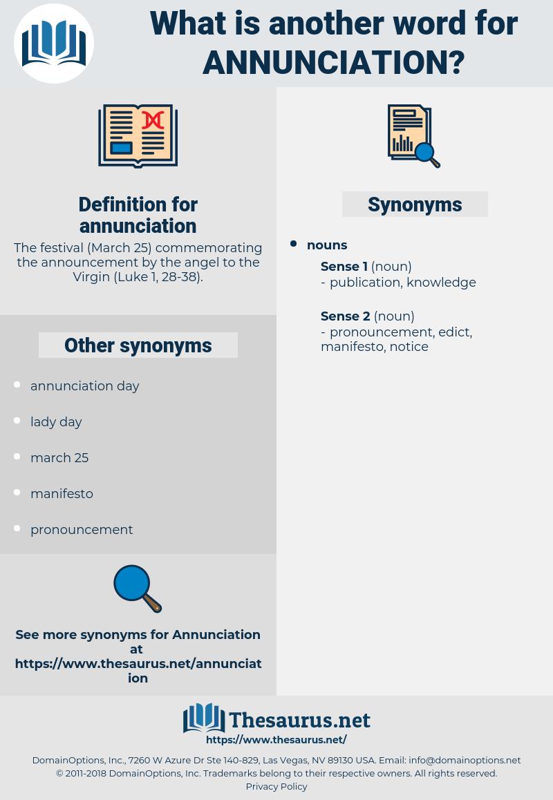 annunciation, synonym annunciation, another word for annunciation, words like annunciation, thesaurus annunciation