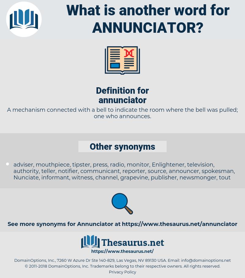 annunciator, synonym annunciator, another word for annunciator, words like annunciator, thesaurus annunciator