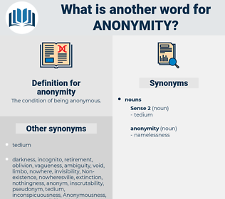 anonymity, synonym anonymity, another word for anonymity, words like anonymity, thesaurus anonymity