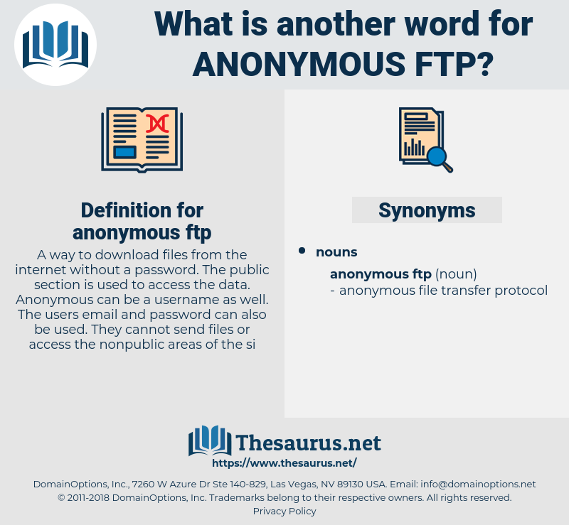 anonymous ftp, synonym anonymous ftp, another word for anonymous ftp, words like anonymous ftp, thesaurus anonymous ftp