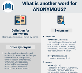 anonymous, synonym anonymous, another word for anonymous, words like anonymous, thesaurus anonymous