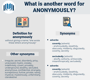 anonymously, synonym anonymously, another word for anonymously, words like anonymously, thesaurus anonymously