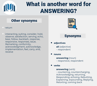 answering, synonym answering, another word for answering, words like answering, thesaurus answering