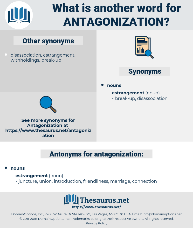 antagonization, synonym antagonization, another word for antagonization, words like antagonization, thesaurus antagonization