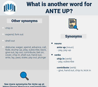 ante up, synonym ante up, another word for ante up, words like ante up, thesaurus ante up