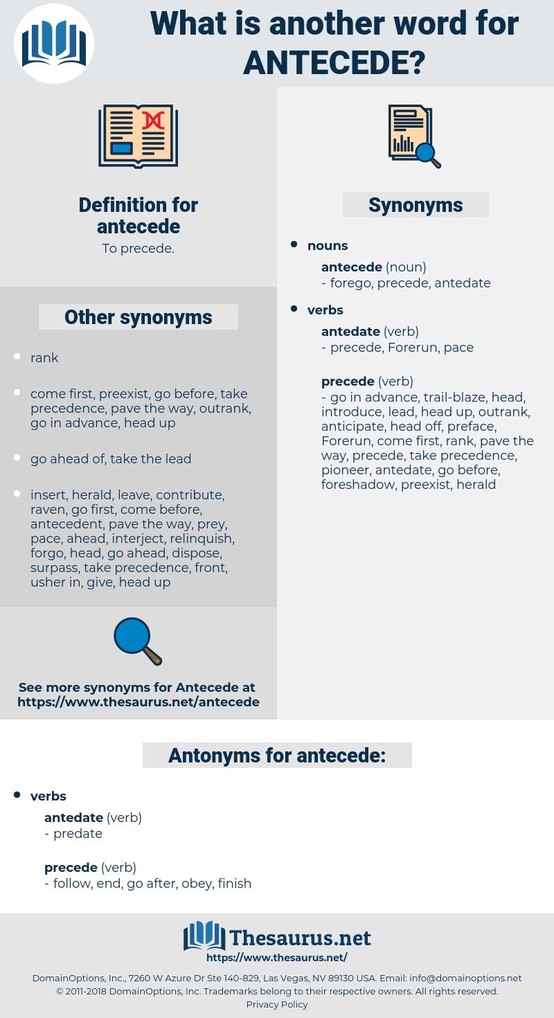 antecede, synonym antecede, another word for antecede, words like antecede, thesaurus antecede