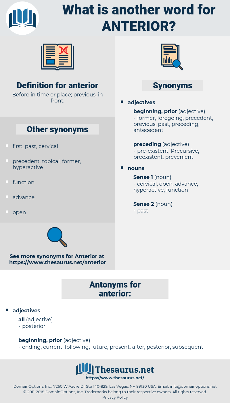 anterior, synonym anterior, another word for anterior, words like anterior, thesaurus anterior