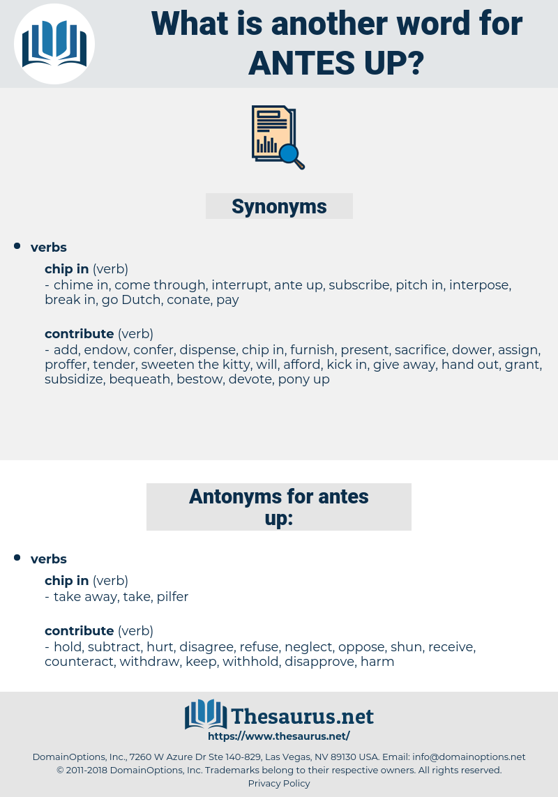 antes up, synonym antes up, another word for antes up, words like antes up, thesaurus antes up