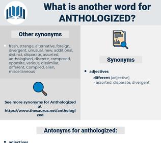 anthologized, synonym anthologized, another word for anthologized, words like anthologized, thesaurus anthologized