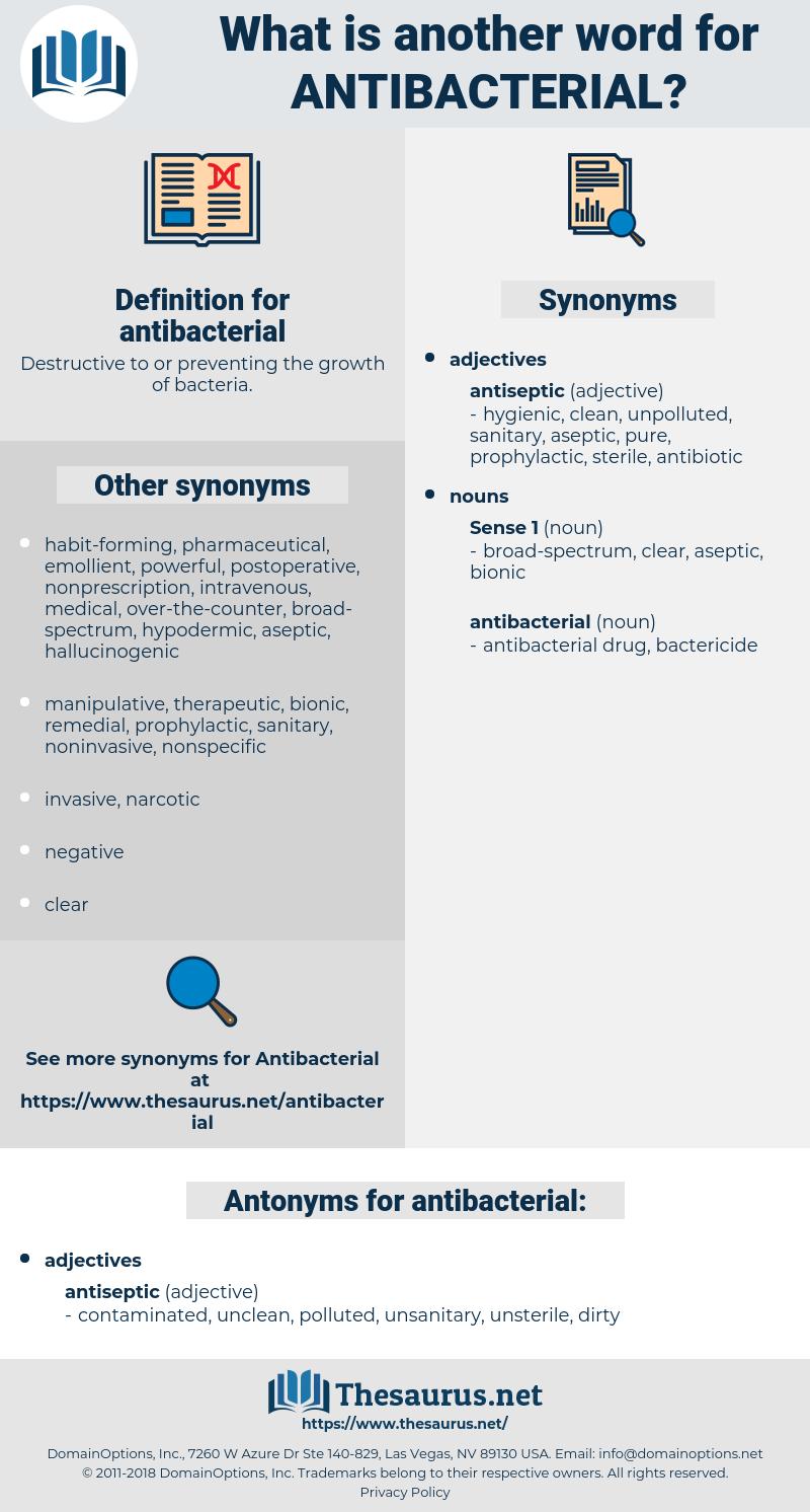 antibacterial, synonym antibacterial, another word for antibacterial, words like antibacterial, thesaurus antibacterial