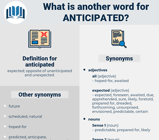 anticipated, synonym anticipated, another word for anticipated, words like anticipated, thesaurus anticipated