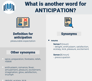 anticipation, synonym anticipation, another word for anticipation, words like anticipation, thesaurus anticipation