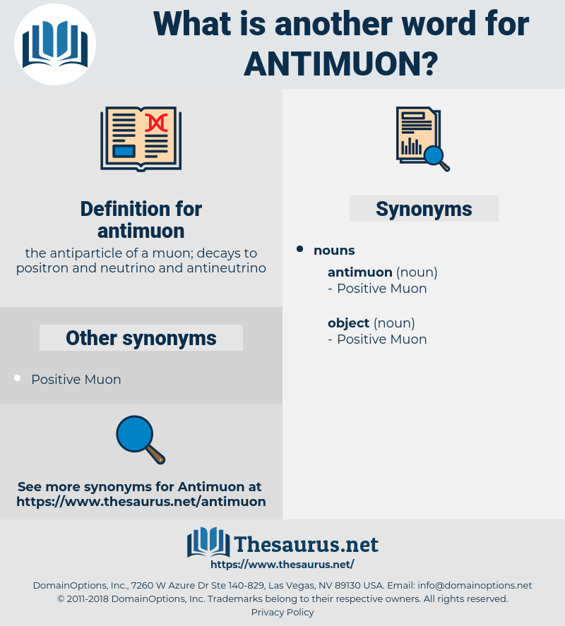 antimuon, synonym antimuon, another word for antimuon, words like antimuon, thesaurus antimuon