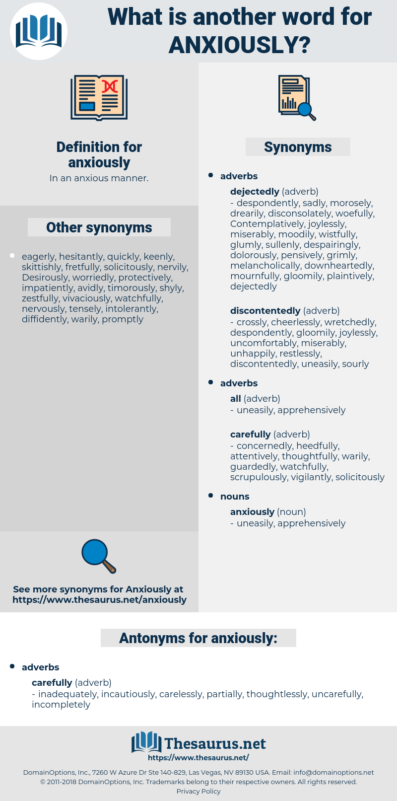 Synonyms for ANXIOUSLY, Antonyms for ANXIOUSLY - Thesaurus net