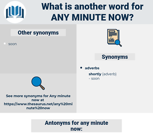 any minute now, synonym any minute now, another word for any minute now, words like any minute now, thesaurus any minute now