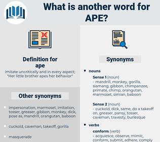 ape, synonym ape, another word for ape, words like ape, thesaurus ape