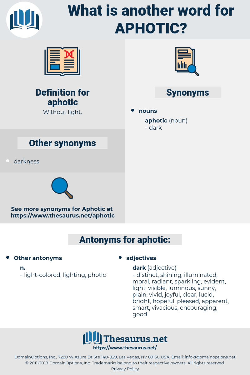 aphotic, synonym aphotic, another word for aphotic, words like aphotic, thesaurus aphotic
