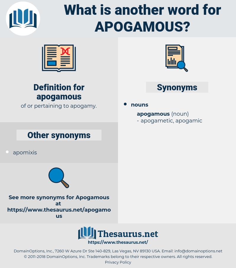 apogamous, synonym apogamous, another word for apogamous, words like apogamous, thesaurus apogamous