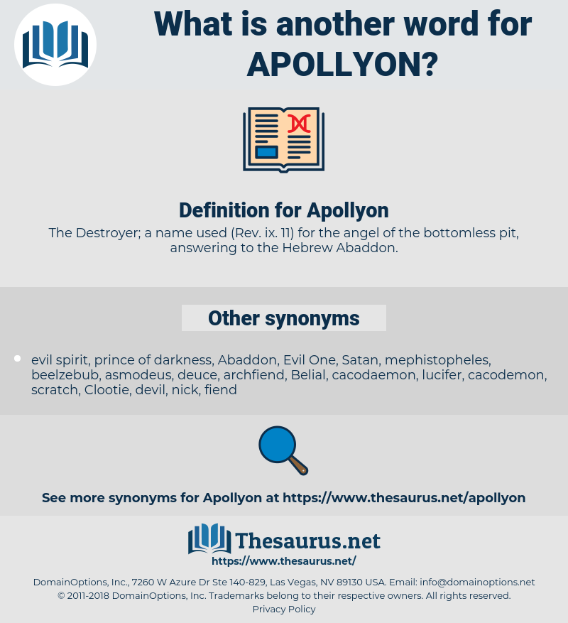 Apollyon, synonym Apollyon, another word for Apollyon, words like Apollyon, thesaurus Apollyon