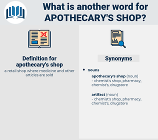 apothecary's shop, synonym apothecary's shop, another word for apothecary's shop, words like apothecary's shop, thesaurus apothecary's shop