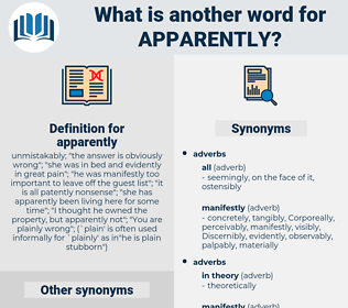 apparently, synonym apparently, another word for apparently, words like apparently, thesaurus apparently