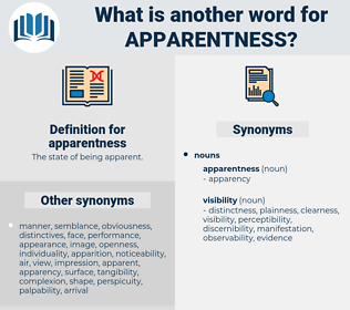 apparentness, synonym apparentness, another word for apparentness, words like apparentness, thesaurus apparentness